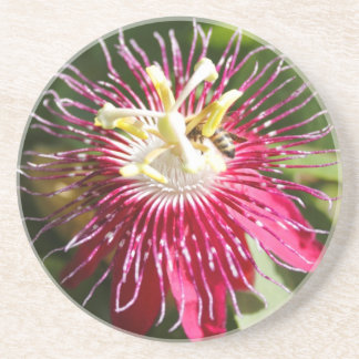 Red Passion Flower with Bee Coaster