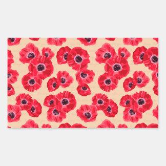 Red Passion Flowers Pattern Rectangular Sticker