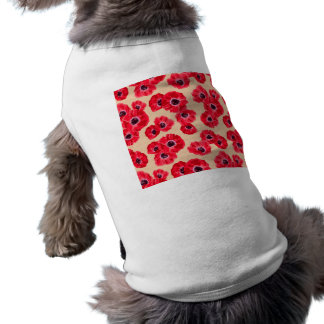 Red Passion Flowers Pattern Sleeveless Dog Shirt