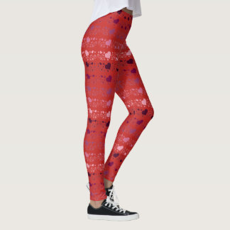 Red Passion Heart Pattern Leggings