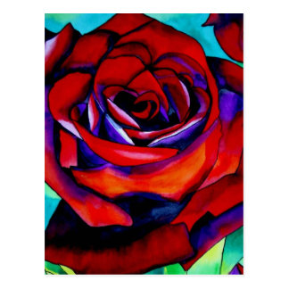 Red passion rose original watercolor art postcard
