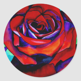 Red passion rose original watercolor art sticker