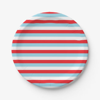 Red, Pastel Blue and White Stripes 7 Inch Paper Plate