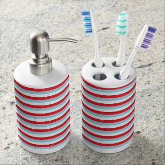 Red, Pastel Blue and White Stripes Bathroom Set