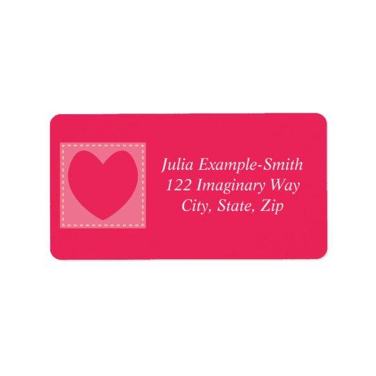 Red Patchwork Hearts Custom Address Label