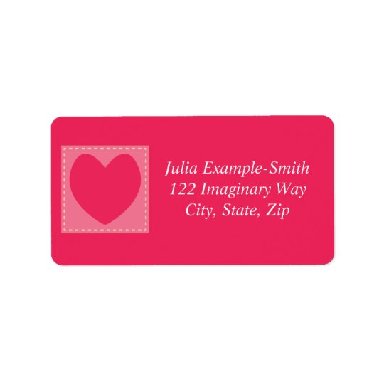 Red Patchwork Hearts Custom Label