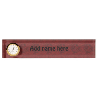 Red pattern name plate