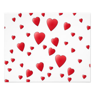 Red Pattern of Love Hearts Flyers