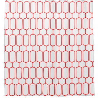 Red pattern shower curtain
