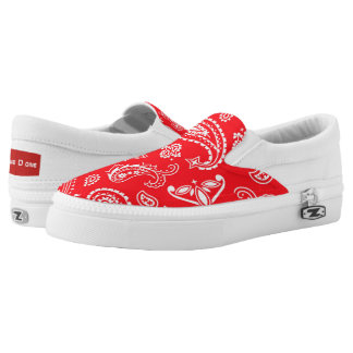 Red Pattern Slip On Shoes