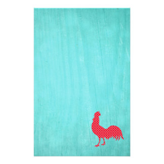 Red Patterned Rooster Silhouette Stationery Paper