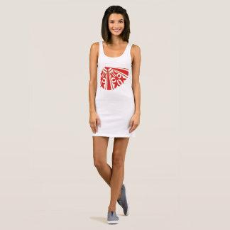 Red Patterned Women's Jersey Tank Dress, White.