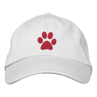 Red Paw Embroidered Hat