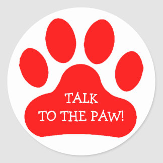 Red Paw Print Classic Round Sticker