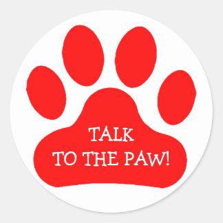 Red Paw Print Round Sticker