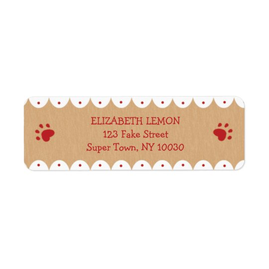 Red Paw Prints Small Address Labels