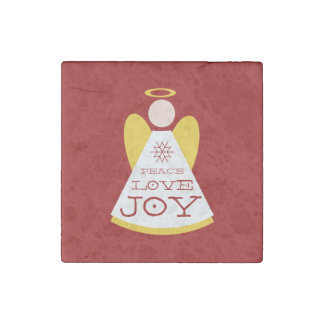 Red Peace Love Joy Holiday Angel Stone Magnet