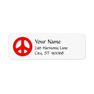 Red Peace Sign Custom Return Label Return Address Label