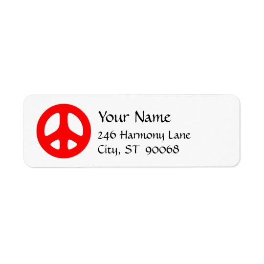 Red Peace Sign Custom Return Label Return Address Label