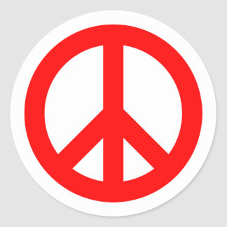 Red Peace Symbol Classic Round Sticker