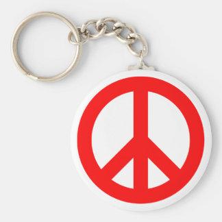 Red Peace Symbol Key Ring