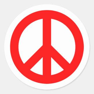 Red Peace Symbol Round Sticker