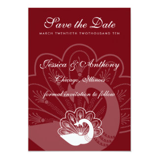 red peacock save the date personalized announcements