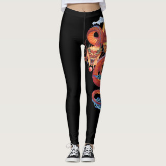 Red Pearl Chinese Dragon Leggings