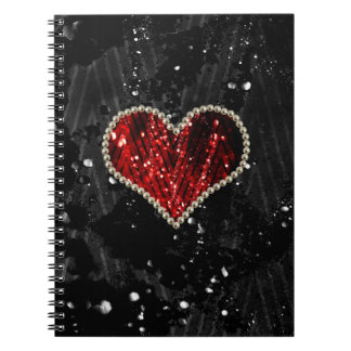 Red Pearl Heart Spiral Notebook