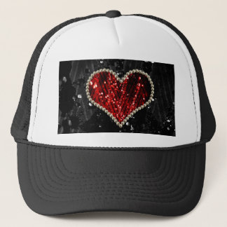 Red Pearl Heart Trucker Hat