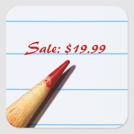 Red Pencil On Lined Paper Price Tags Sticker