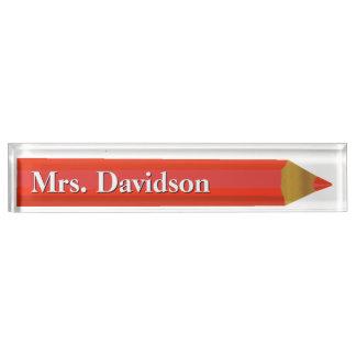 Red Pencil Teacher's Custom Desk Nameplate