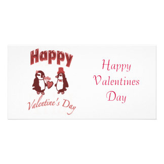 Red Penguin Happy Valentines Day Picture Card