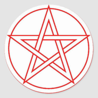 Red Pentacle Round Sticker