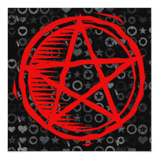 Red Pentagram 13 Cm X 13 Cm Square Invitation Card