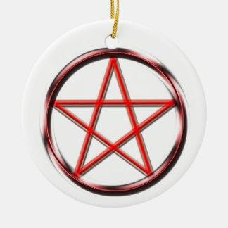 Red Pentagram Round Ceramic Decoration