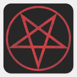 Red Pentagram Square Sticker