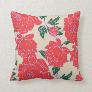 Red Peonies Cushion