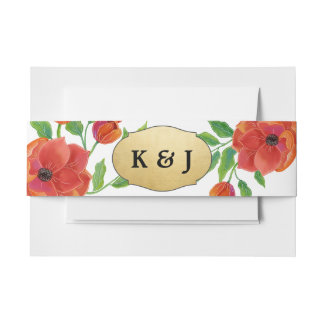 Red Peonies Faux Gold Foil Wedding Monogram Invitation Belly Band