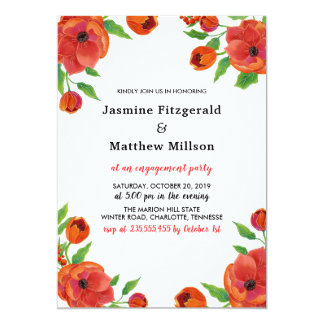 Red Peonies Floral | Engagement Party Card