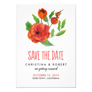 Red Peonies Floral | Save The Date Card