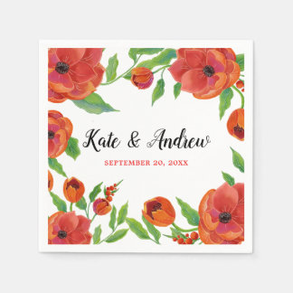 Red Peonies Floral Wedding Disposable Napkin