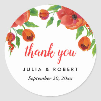 Red Peonies Floral Wedding Thank You Classic Round Sticker