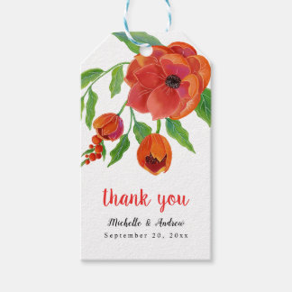 Red Peonies Floral Wedding Thank You Gift Tags