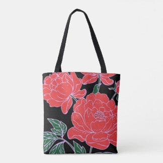 Red Peonies Tote Bag