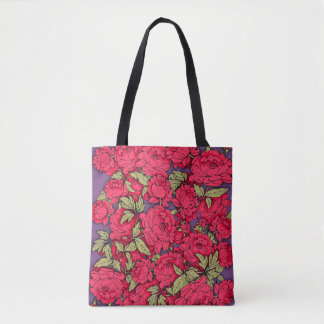Red Peonies with Gold Leaves Tote Bag