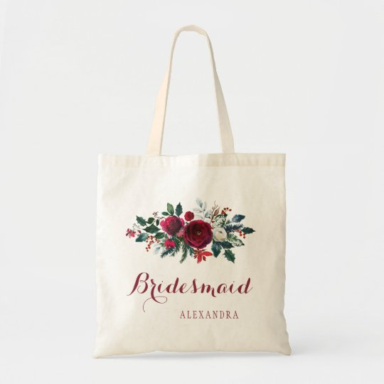 Red peony bouquet winter wedding bridesmaid tote bag