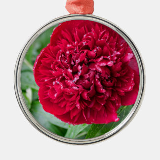 Red Peony Flower Christmas Ornament