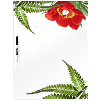 Red Peony Flower & Ferns Dry Erase Board