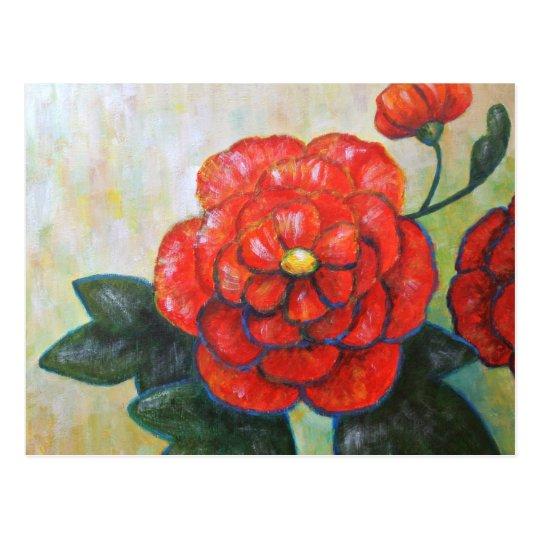 Red Peony Impressionist Fine Art Flower Postcard